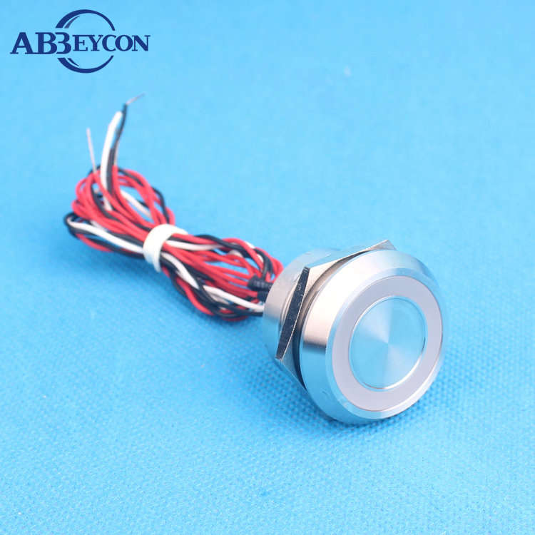 Abbeycon 22mm 2A 12V Flat Head IP68 Colorful Illuminated light LED Waterproof Normally Open Momentary wired Touch Piezo Switch elewind 22mm ring illuminated piezo switch 22mm ps223p10yss1b24t rohs ce