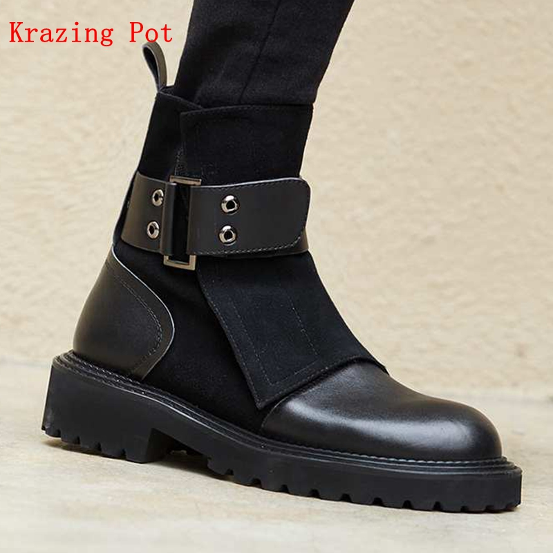 Krazing Pot Genuine Leather Boots Style Round Toe Med Heels Keep Warm Rivet Buckle Straps British Style European Ankle Boots L21