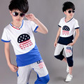 2016 summer boys clothing set fashion embroidered casual cotton 2 pieces set V-neck short sleeve  sport suit set size 120-160