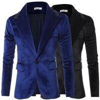 Top Quality Autumn Winter Single Button Slim Casual Business Suit Jacket Men Velvet Blazer Coat Black