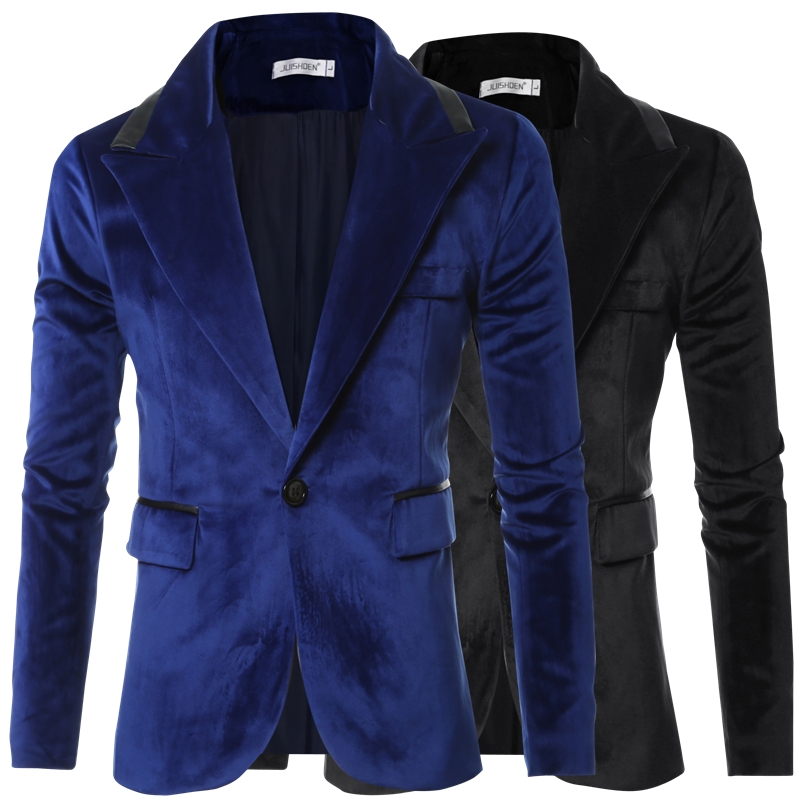 Top Quality Autumn Winter Single Button Business Casual Slim Fit Male Tuxedo Jacket Velvet Blazer Men Royal Blue Navy Black