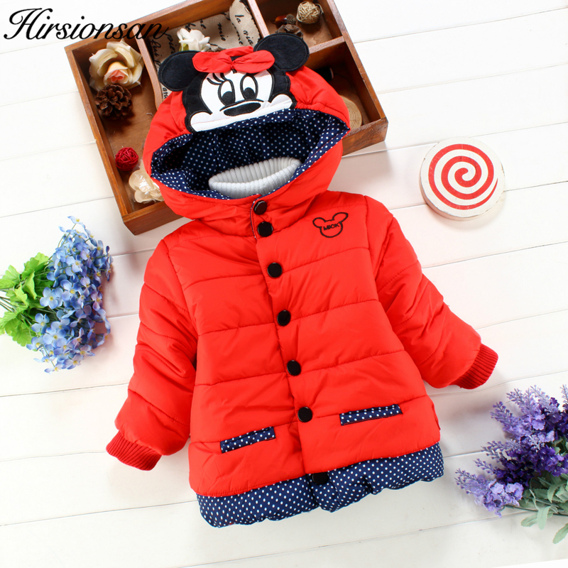 Hirsionsan 2017 Winter Jacket For Girls Hooded Single Breasted Cartoon Coats For kids Outerwear Children Cotton Clothes