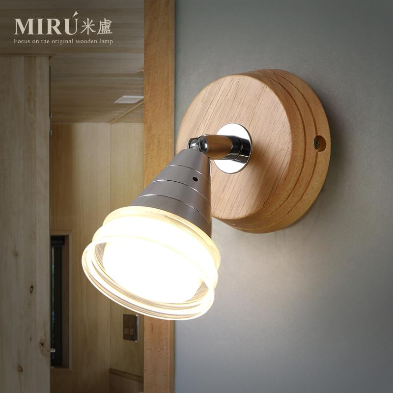 Modern Brief LED Living Room Wall Lights Led Wood Bed Light Personalized Balcony Solid Wood Wall Lamp Free Shipping modern style wooden led wall lamp 220v bed room bedside wall light natural solid wood frosted glass foyer study home decoration