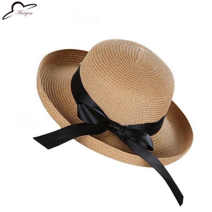 Handmade Roll Up Hem Flower Strawhat Women's Garishness Sunbonnet Bucket Hat Decoration Floppy Beach Hat Beautiful Bowler Hat