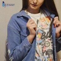 Efinny 2017ファッションジーンズコート女性甘いジャケットカジュアル手紙マッププリントジーンズコート生き抜く穴アッパー