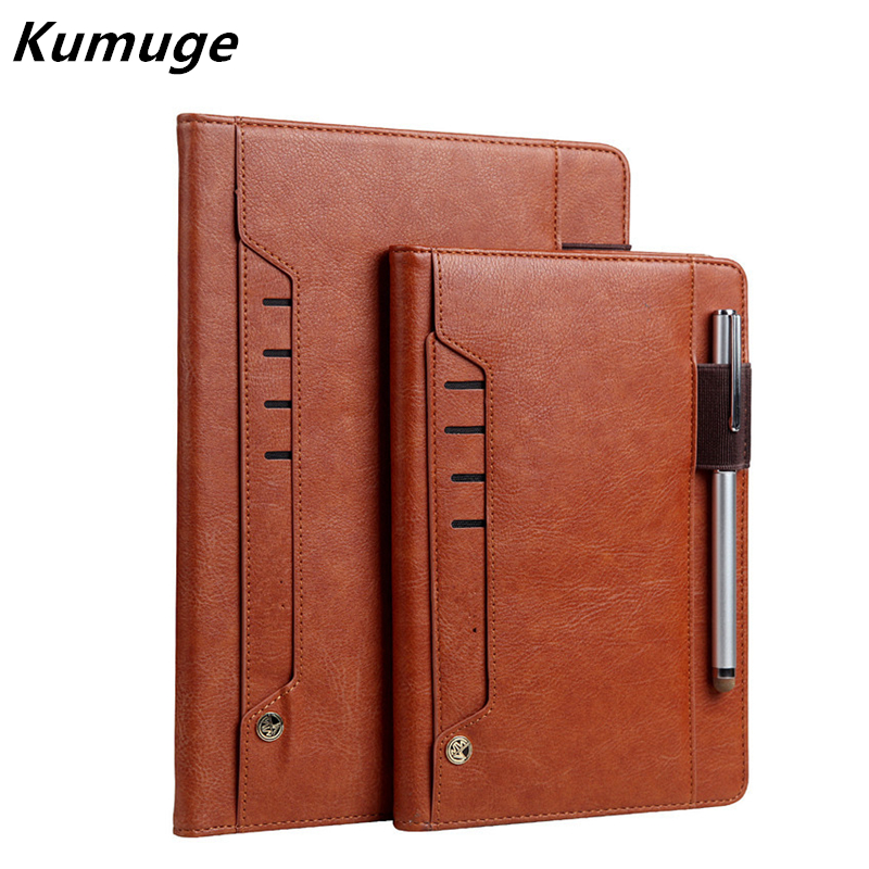 For New iPad 9.7 Luxury Vintage Business Flip Tablet Stand Card Smart Cover Case for New iPad 2017 Model A1822 Capa Para+Film