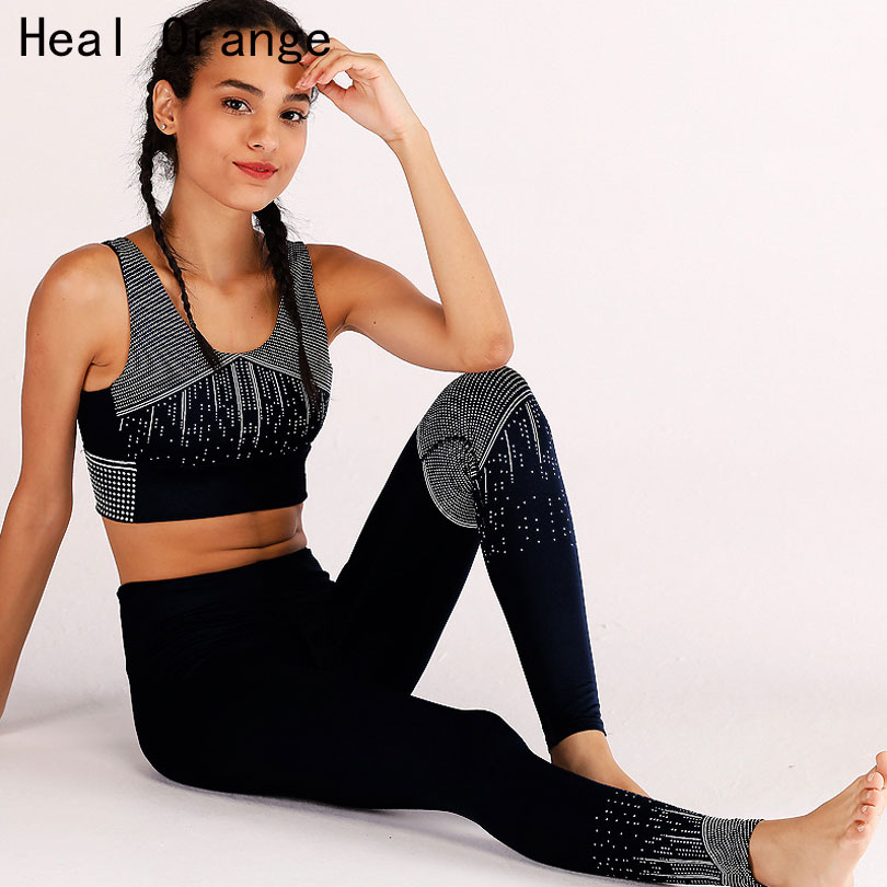 Heal Orange Tracksuit For Women Gym Set Women Yoga Leggings Set Offset Printing Yoga Sets Women Gym Clothes Sport Suit Women 2018 new bright gym clothes colors solid and patchwork female summer yoga suit t shirt bra leggings 3 pieces yoga set for women