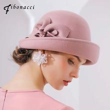 피보나치 2018 새로운 브랜드 품질 플랜지 꽃 양모 페도라 여성의 가을 겨울 모자 돔 우아한 연회 페도라 모자