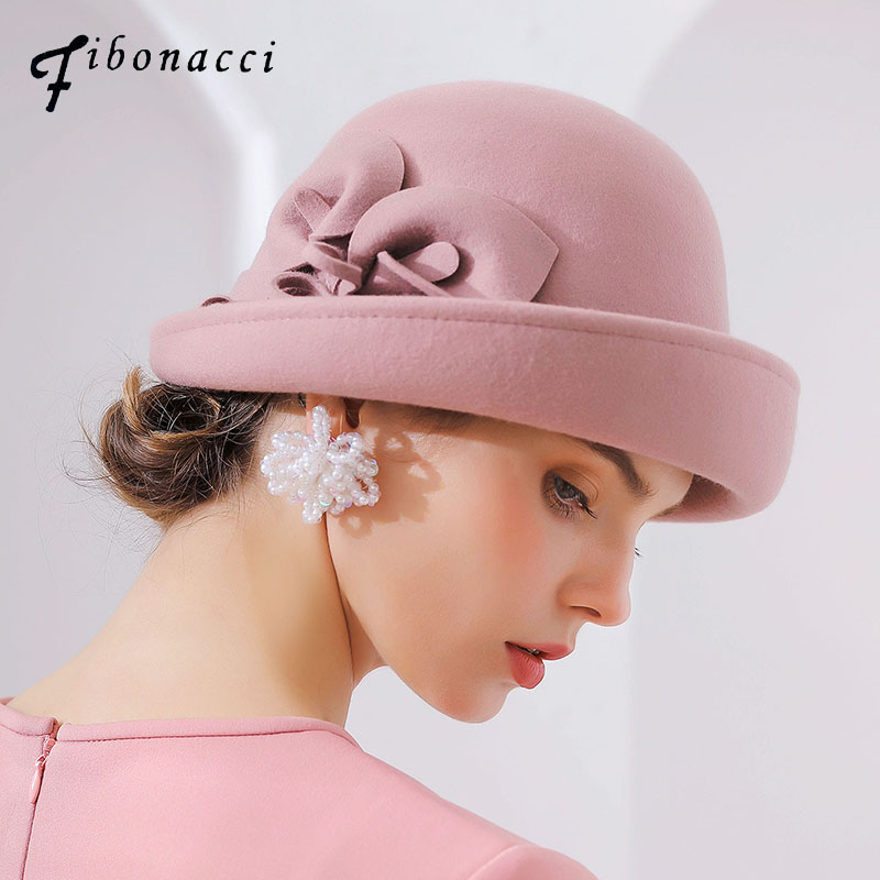 Fibonacci 2018 New Brand Quality Flanging Floral Wool Felt Fedoras Women's Autumn Winter Hats Dome Elegant Banquet Fedora Hat-in Women's Fedoras from Apparel Accessories