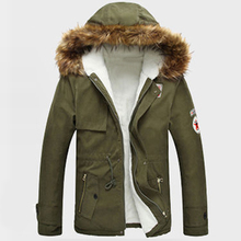 3 Colors Plus Size S-4XL Man Parkas Hoodes Winter Warm Coat Thick Fake Fur Male Casual Coats Solid Jacket Outwear Slim Fit 2017