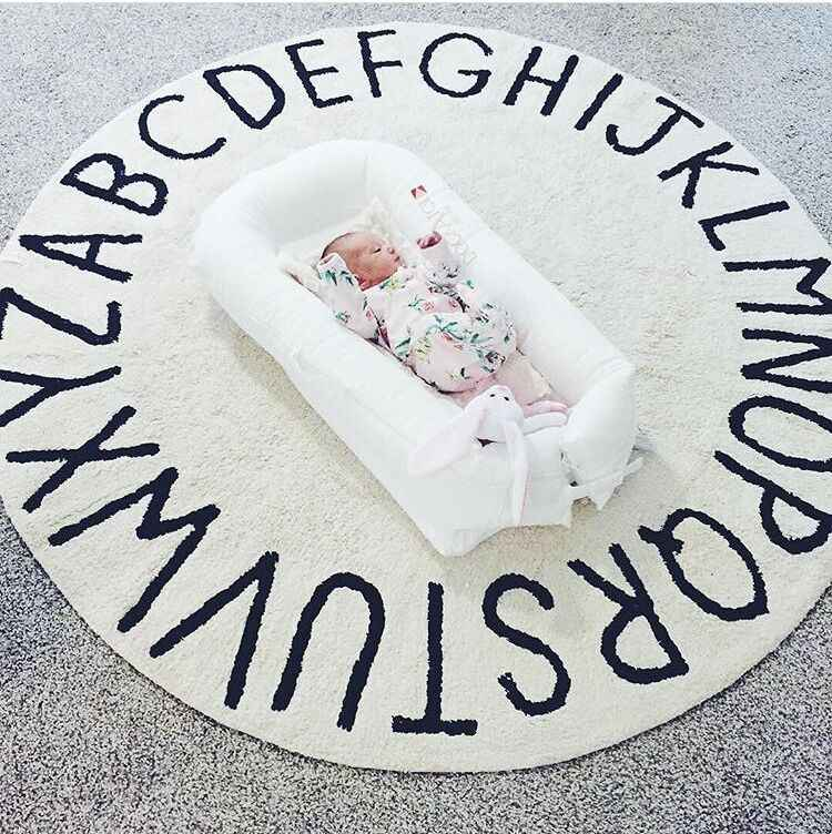 120センチ柔らかい白ピンク子供ルームdecぬいぐるみ遊びマット滑り止め厚い大きな丸い文字アルファベット床カーペットサークルマット赤ちゃんの敷物