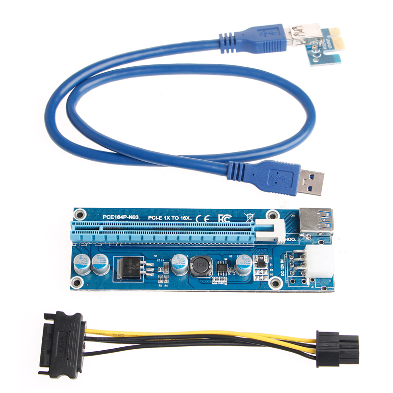 Riser Card Adapter 6Pin PCI-E 1x To 16x Extender USB3.0 SATA Power CableDrop Shipping