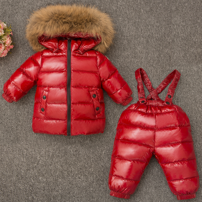 Boys Girl Winter Clothes Children Clothing Set Ski Suit Kids Jumpsuit Warm Coats Duck Down Genuine Fur Hooded Jacket Bib Pants цена