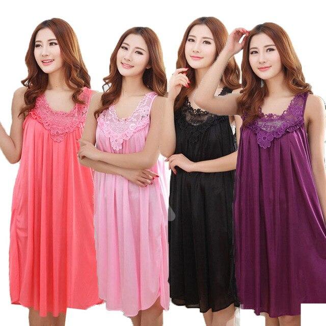 e402bfc3d YINSILAIBEI Grande Sexy Vestido de Noite De Cetim De Seda Gelo Sleepwear Feminino  Camisola Das Mulheres