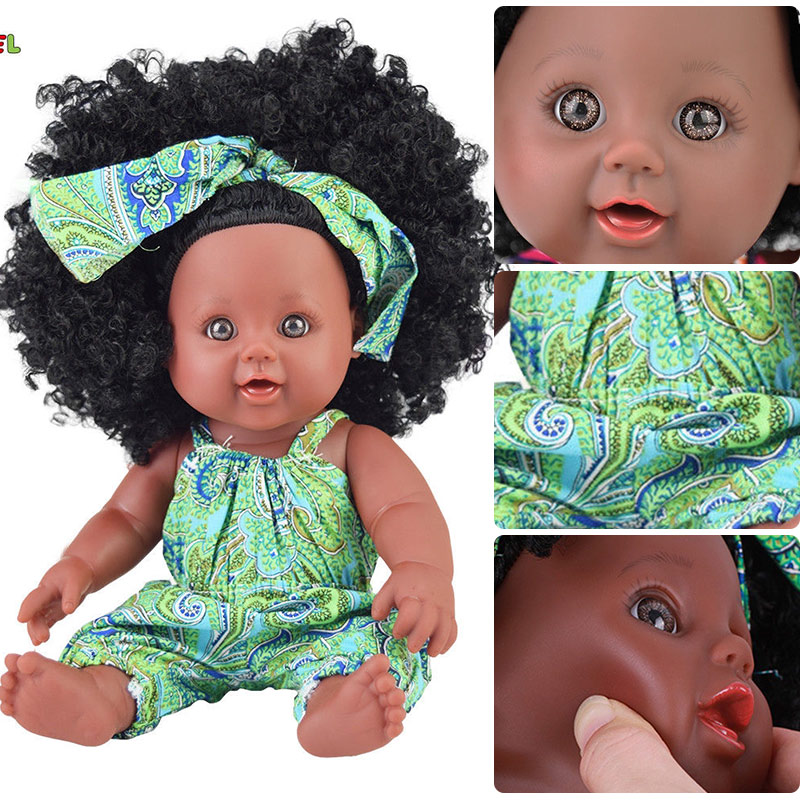 green black doll reborn toys poppen 30cm real dolls for girls reborn alive silicone poupee African baby doll toddler