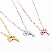 Heart & Key Zircon Pandent Necklace For Women Rose Gold Color Tiff Fashion Lovely Wedding Gifts Girls Small Necklace Jewelry