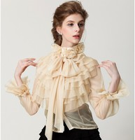 2016 High Neck Victorian Blouse Vintage Princess Royal Court Chiffon Ruffles Bow Designer Tops Blouse