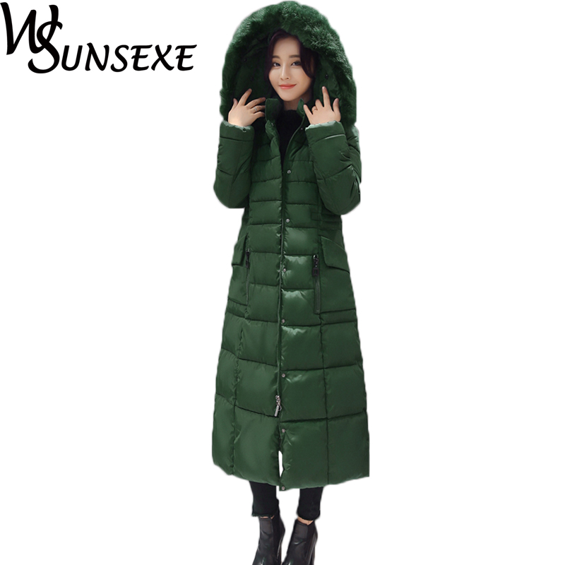 Women Fur Collar Hooded Parka Coats Winter Casual Solid Color Maxi Long Warm Cotton Down Slim Jackets Female Plus Size Outwear цены онлайн