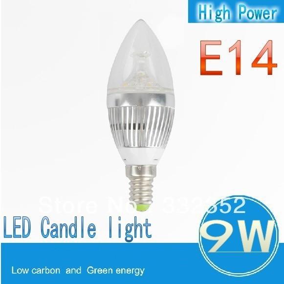 High power!FREE Shipping  E14 3x3W 9W Dimmable AC85~265V LED Candel Light LED bulb lamp LED spotlight
