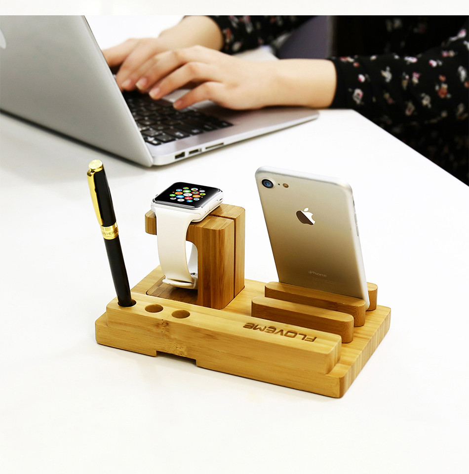 Universal Natural Bamboo Charging Dock Cradle Stand Detachable Multifunction Phone Holder (11)
