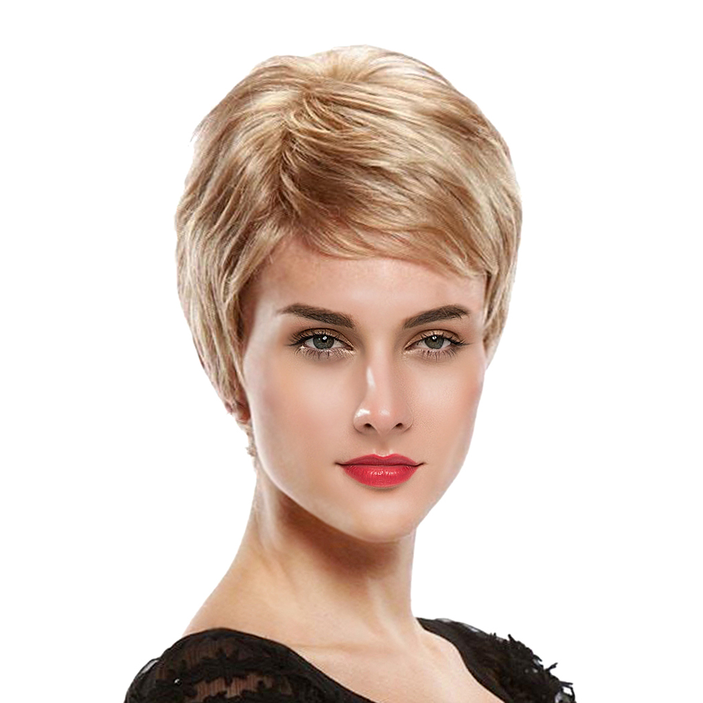 8 inch Short Straight Wigs Human Hair Pixie Cut Chic Wig for Women w/ Bangs Light Gold graceful short side bang fluffy natural wavy capless human hair wig for women