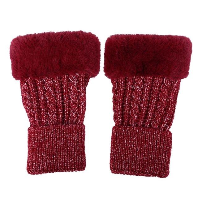 Haimeikang Winter Real Fur Women Fingerless Thicken Gloves Knitting Wool Mittens Wrist Warm Winter Female Gloves Soft Mittens