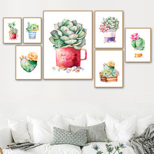 Watercolor Cactus Succulent Pot Plant Wall Art Canvas Painting Nordic Poster And Prints Pictures For Living Room Home Decor