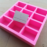 Customize Silicone Soap Mold 12 Cavities Silicone Mold With Customized Logo Personal Custom Soap Chocolate Wax