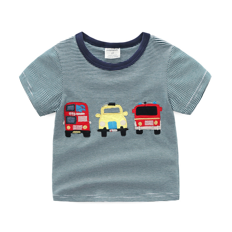 Tees new designed baby boys cute cartoon t shirts kids short sleeve summer t shirt with applique cars animal boys girls clothing contrast lace applique t shirt