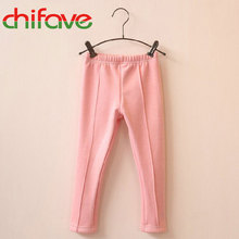 2017 Baby Girls Full Length Pencil Pants Mid Elastic Waist Leggings Solid 8 Colors Kids Girls Thick&Thin Leggings Suit 3-6 Ages