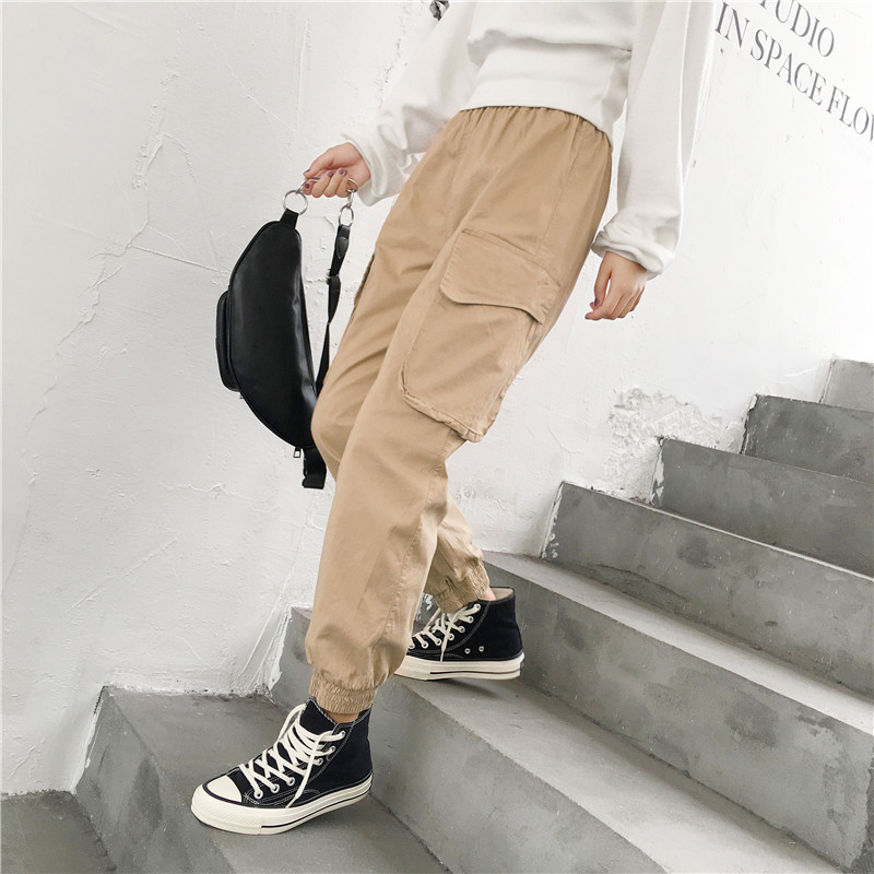High Waist Streetwear Cargo   Pants   Women Casual Joggers Black Pantalon Femme High Waist Loose Female Trousers Ladies   Pants     Capri