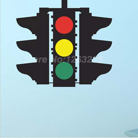 Stop Caution Go Traffic Light shape Vinyl Wall stickers kids nursery decoration Free shipping