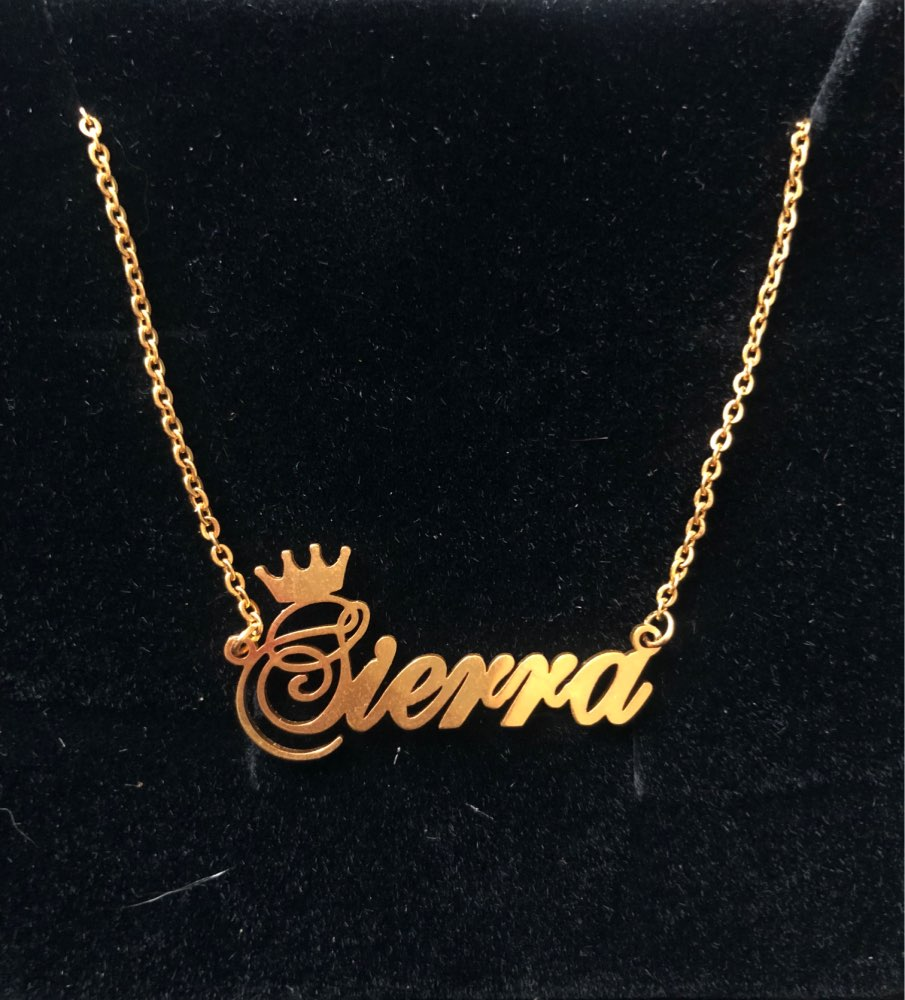 Personalized Initials Necklaces For Women Stainless Steel Rose Gold Queen  Crown Custom Name Necklaces Sister Nameplate Jewelry