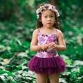 Leotard de las muchachas traje de diseño niños princess tutu floral digital print ropa de baile vestido de niña de navidad celebraciones