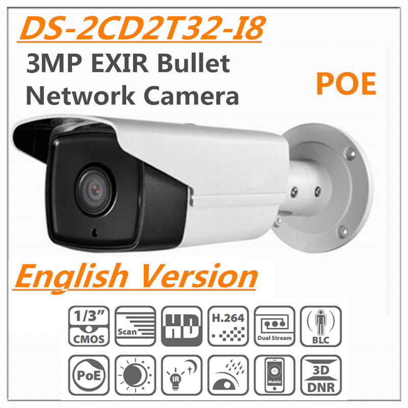 English Vision DS-2CD2T32-I8 3MP EXIR Bullet Network Camera 1/3'' CMOS HD real-time video IR 80M IP66 POE 1 8 2 cd