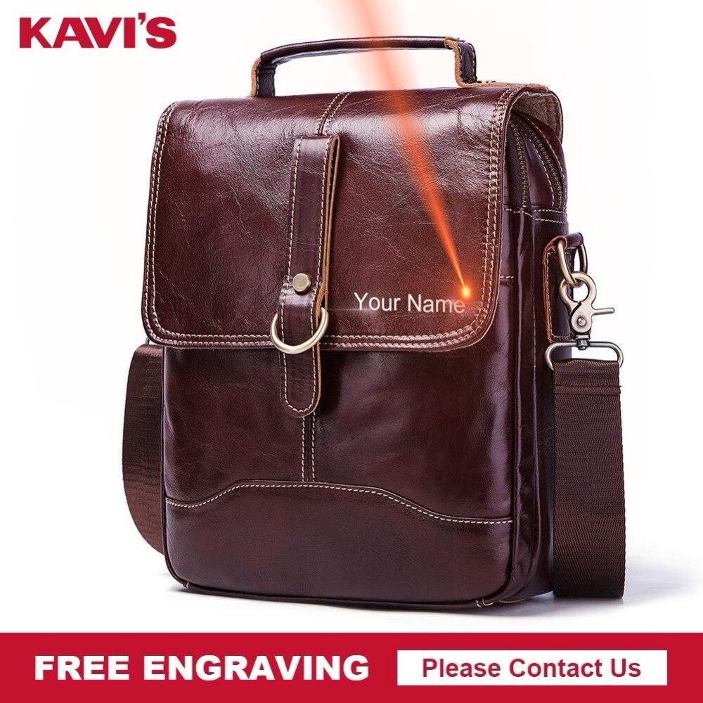 KAVIS Free Engraving 100% High Quality Messenger Bag Men's Shoulder Bag Crossbody Slin Leather Chest Handbag Fashion for Male kavis 100