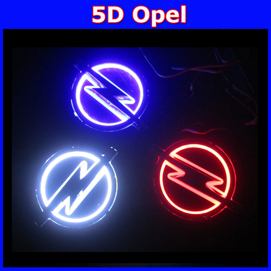 car 5D badge light led emblem car logo light car emblem for Opel 13.3cm X 10.1cm white red blue