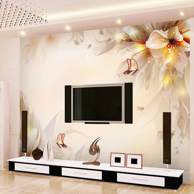 Buy fantasy lily mural background wall for Zoom room design
