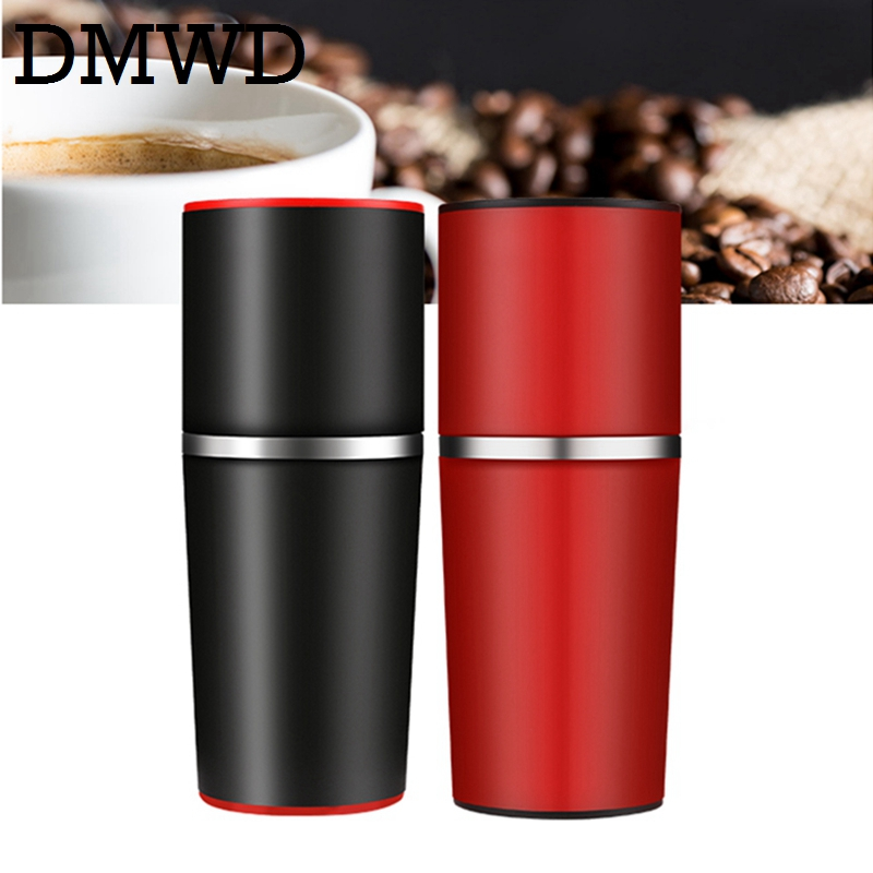DMWD Manual Coffee Grinder Hand Pressure Portable Espresso Maker mini Outdoor Travel Black Coffee Pressing machine Bottle Pot mini sport coffee machine the hand powered portable espresso machine with high quality powder vesion