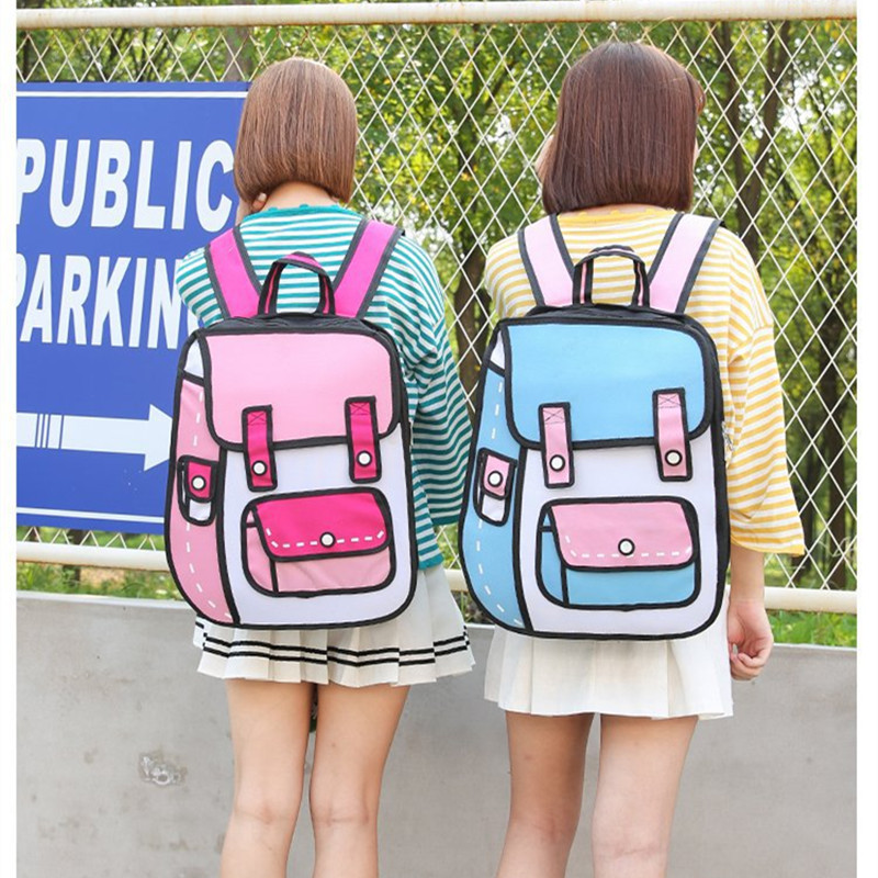 Flyone New 3D Jump Style 2D Drawing Cartoon Paper Bag Comic Backpack Fashion Cute Student Bags Bolos 6Colors 2017