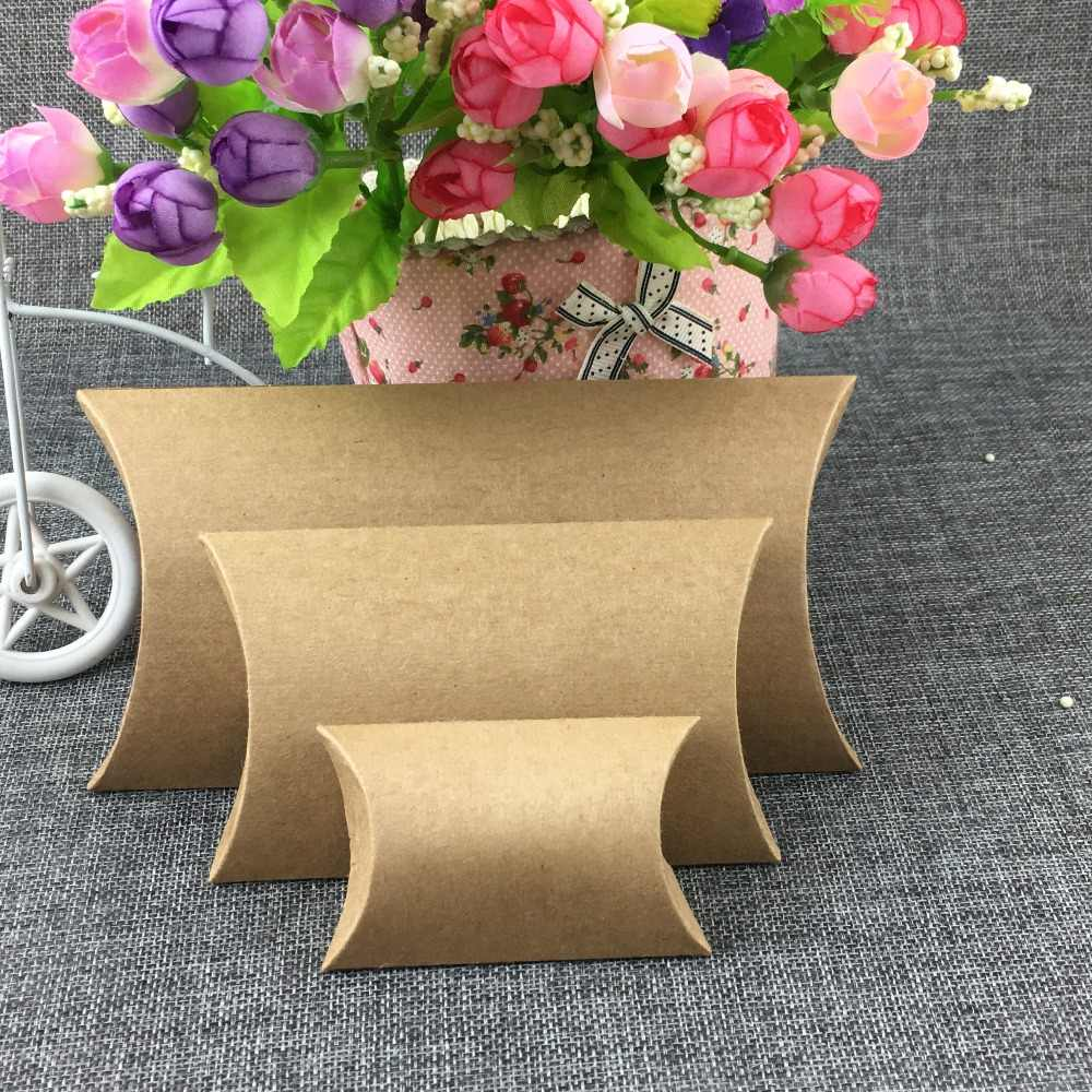24Pcs 4 Size Paper Boxes for Candy Toys Carrying Bags Favor Festival Gifts Packaging Pillow Box Brown Black Accept Custom Logo