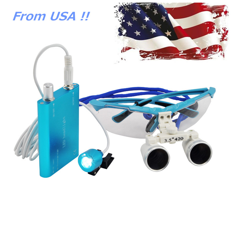 Ship from USA !! Dentist Dental Surgical Medical Binocular Loupes 3.5X 420mm Optical Glass Loupe Freeshipping 2018 new fashion dentist dental surgical medical binocular loupes optical glass loupe with colorful carry case free shipping