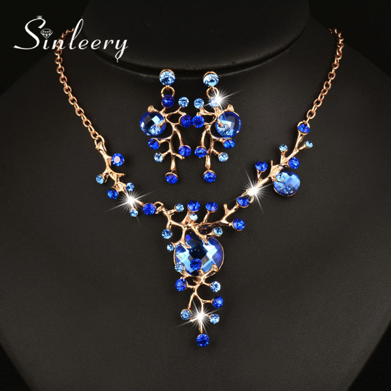 SINLEERY Fashion Blue & Brown Glass Branch Shape Gold Color Necklace Earrings Women Bridal Jewelry Set Accessories Tz117 SSH