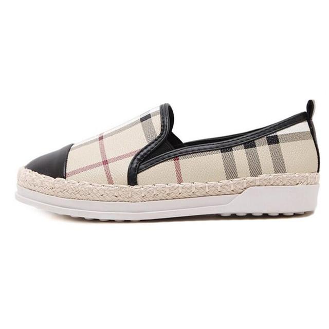 Blanco Negro 2 colores patchwork de cuero de Las Mujeres alpargatas zapatos pescador tejer geométrica plaids guinga oxfords loafers tamaño 35-