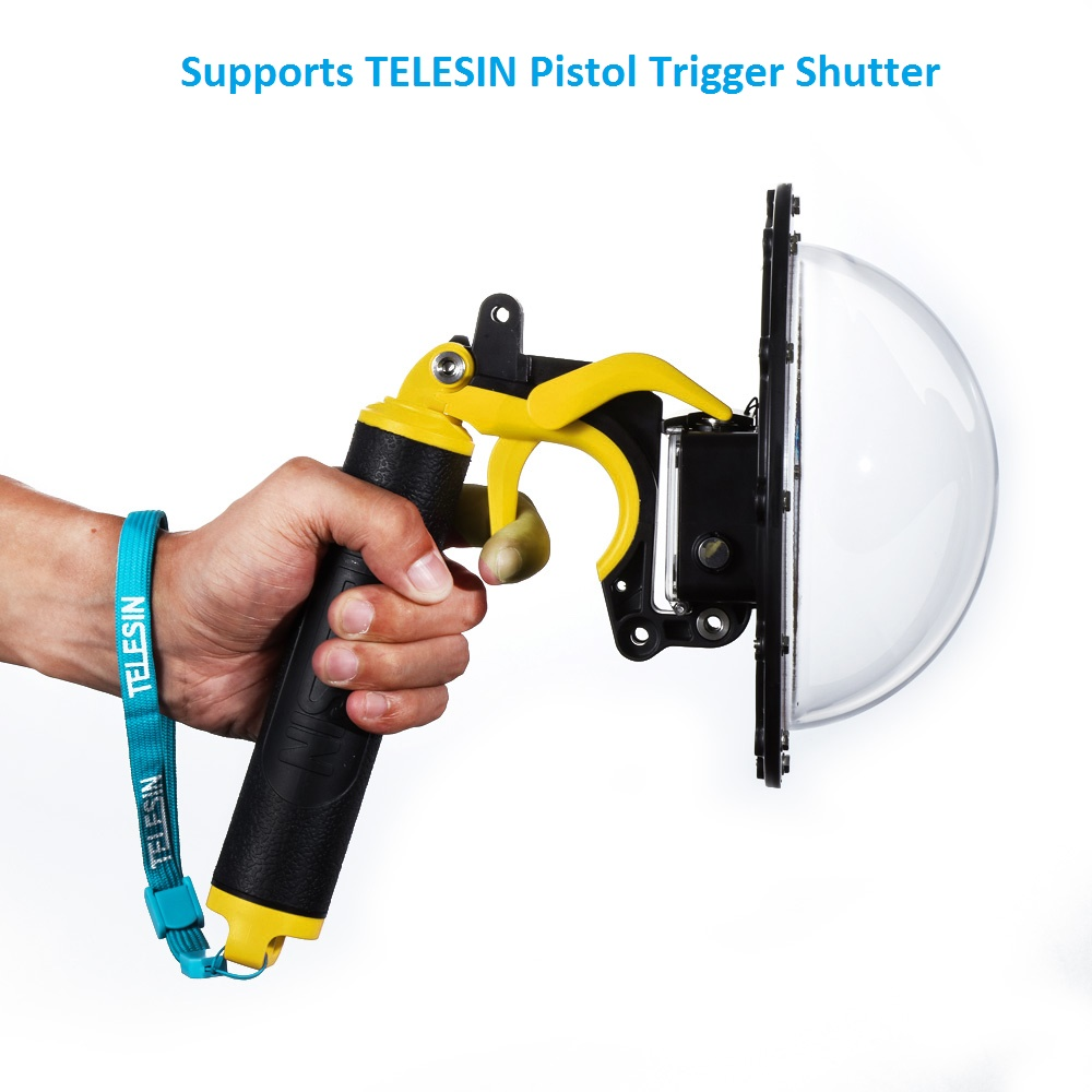 TELESIN 6 Dome Port Waterproof Case + Floating + Trigger for GoPro Hero 4, Hero 3, Hero 3+ Lens Dome Cover Housing Accessories telesin dome port diving photography floaty handle for gopro hero 4 camera os802