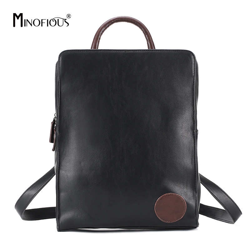 MINOFIOUS New PU Leather Backpacks Fashion Casual Back Bag Black Soft School Bags Multifunctional Backpack for Women and MenMINOFIOUS New PU Leather Backpacks Fashion Casual Back Bag Black Soft School Bags Multifunctional Backpack for Women and Men