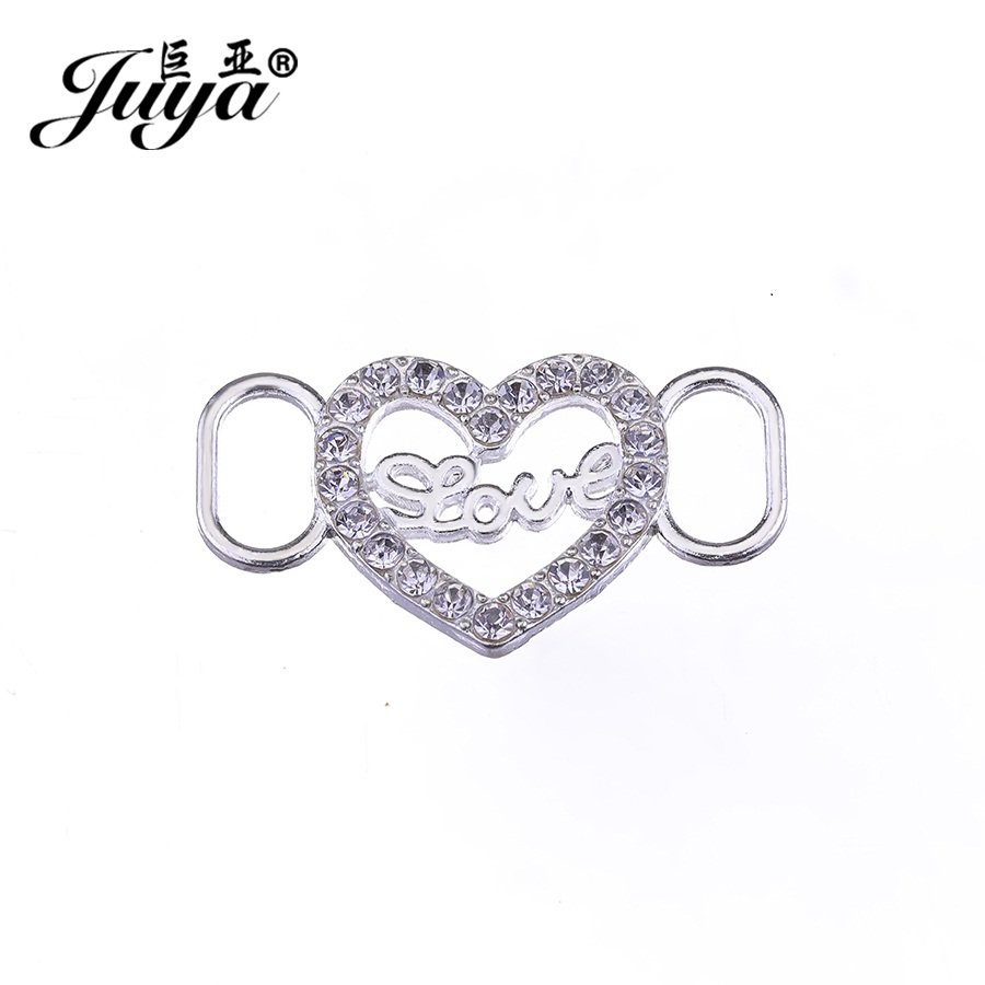 JUYA Cheap connectors for jewelry making 35x20mm seove alphabet heart shape bracelet handmede accessories with rhinestone CR0049