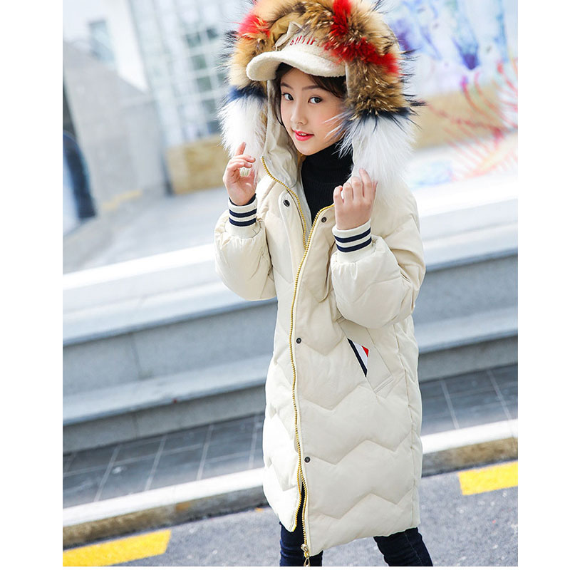 solid long fur hooded down jacket for big girls winter coats kids outerwear top clothing children's winter jackets new 2018 coat цены