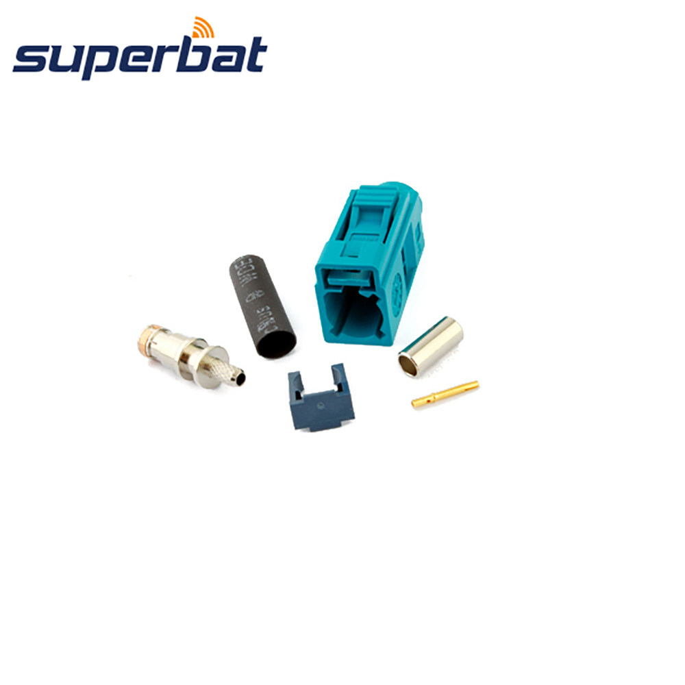 Superbat Fakra Z Waterblue/5021 Jack Female Connector Neutral Coding Crimp For RF Coaxial Cable RG316 RG174 LMR100 GPS DAB+Radio