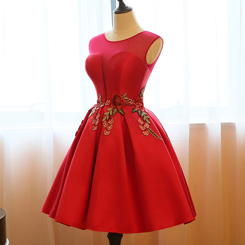 Bridesmaid Dresses Red Pretty Embroidery Flower Design Women Elegant Round Neck Sleeveless 2018 Wedding Party Dress